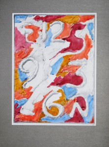 00,45 Hours, by Ray Istre, Hand painted mono print, copyright, 1991, contact by email ray@rayistre.com, thank you