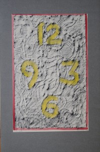 01,01 Hours, by Ray Istre, Hand painted mono print, copyright 1991, contact by email ray@rayistre.com, thank you
