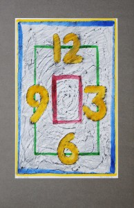 01,11 Hours, by Ray Istre, Hand painted mono print, copyright 1991, contact by email ray@rayistre.com, thank you