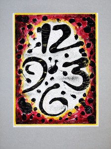 01,53 Hours, by Ray Istre, Hand painted mono print, copyright 1991, contact by email ray@rayistre.com, thank you