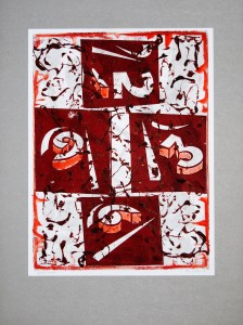 00,25 Hours, by Ray Istre, Hand painted mono print, copyright 1991, contact by email ray@rayistre.com, thank you